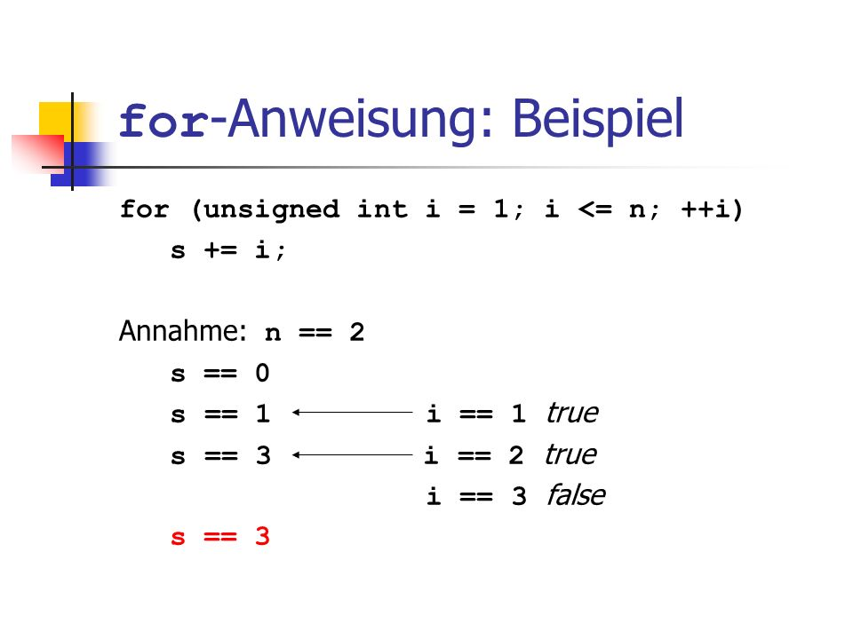 for -Anweisung: Beispiel for (unsigned int i = 1; i <= n; ++i) s += i; Annahme: n == 2 s == 0 s == 1 i == 1 true s == 3 i == 2 true i == 3 false s ==