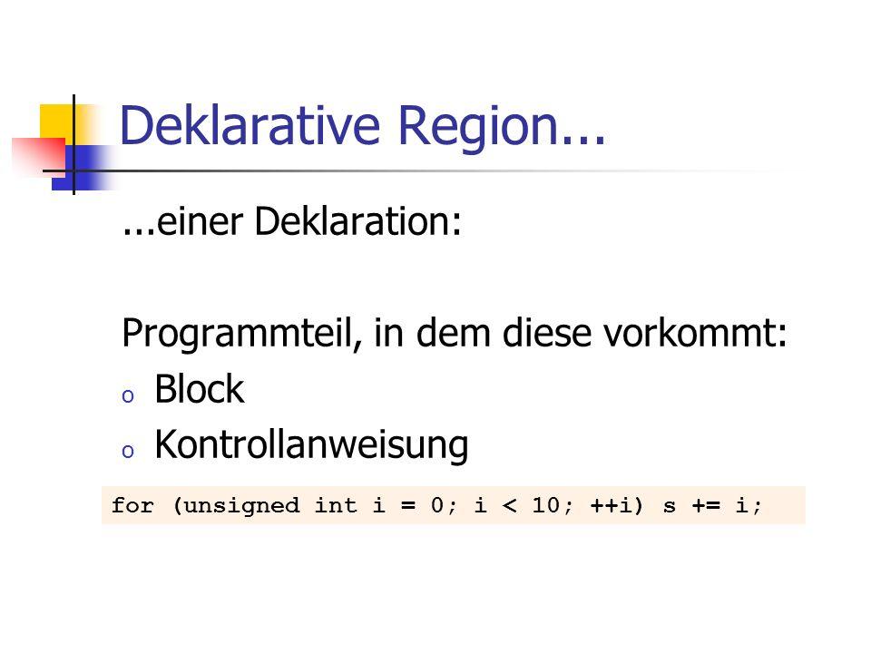 Deklarative Region......einer Deklaration: Programmteil, in dem diese vorkommt: o Block o Kontrollanweisung for (unsigned int i = 0; i < 10; ++i) s +=