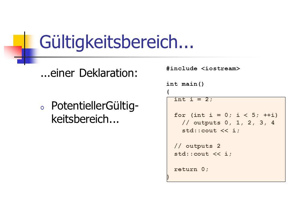 Gültigkeitsbereich......einer Deklaration: o PotentiellerGültig- keitsbereich... #include int main() { int i = 2; for (int i = 0; i < 5; ++i) // outpu