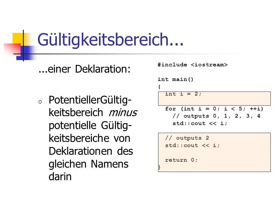 Gültigkeitsbereich......einer Deklaration: o PotentiellerGültig- keitsbereich minus potentielle Gültig- keitsbereiche von Deklarationen des gleichen N