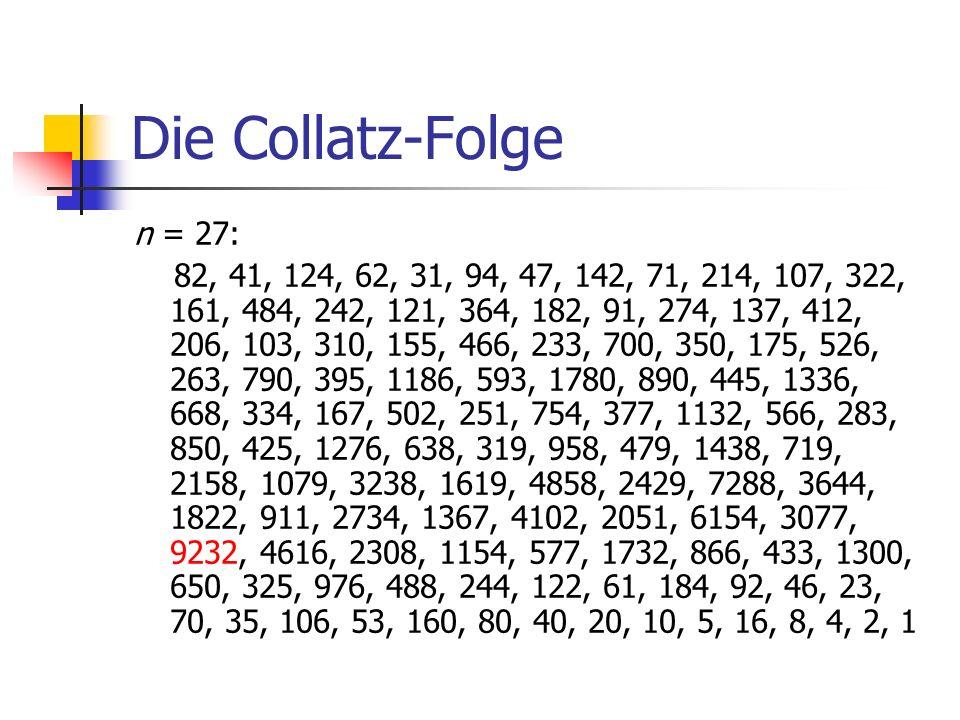 Die Collatz-Folge n = 27: 82, 41, 124, 62, 31, 94, 47, 142, 71, 214, 107, 322, 161, 484, 242, 121, 364, 182, 91, 274, 137, 412, 206, 103, 310, 155, 46