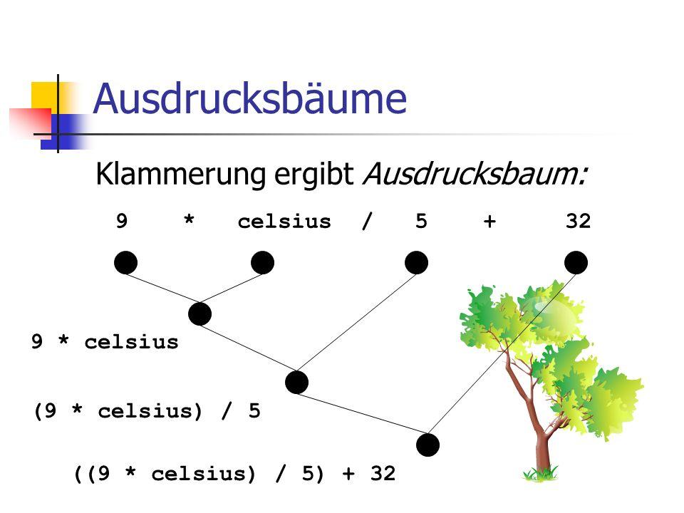 Ausdrucksbäume Klammerung ergibt Ausdrucksbaum: 9 * celsius / 5 + 32 9 * celsius (9 * celsius) / 5 ((9 * celsius) / 5) + 32