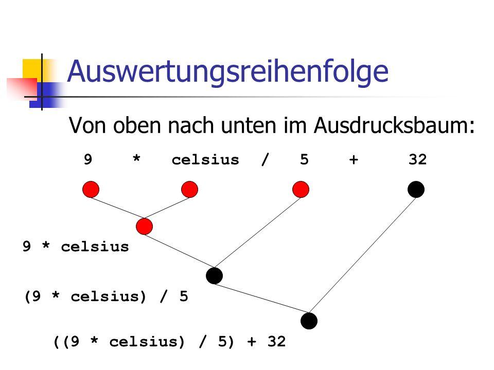 Auswertungsreihenfolge Von oben nach unten im Ausdrucksbaum: 9 * celsius / 5 + 32 9 * celsius (9 * celsius) / 5 ((9 * celsius) / 5) + 32