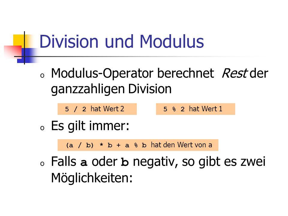 Division und Modulus o Modulus-Operator berechnet Rest der ganzzahligen Division o Es gilt immer: o Falls a oder b negativ, so gibt es zwei Möglichkeiten: 5 / 2 hat Wert 2 5 % 2 hat Wert 1 (a / b) * b + a % b hat den Wert von a