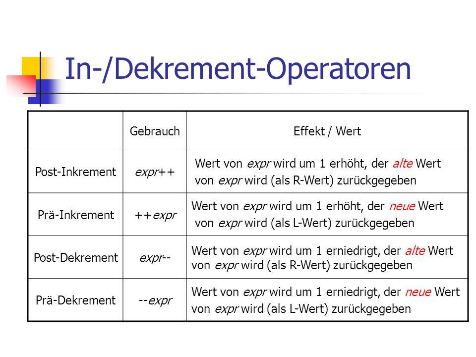 In-/Dekrement-Operatoren GebrauchEffekt / Wert Post-Inkrementexpr++ Wert von expr wird um 1 erhöht, der alte Wert von expr wird (als R-Wert) zurückgegeben Prä-Inkrement++expr Wert von expr wird um 1 erhöht, der neue Wert von expr wird (als L-Wert) zurückgegeben Post-Dekrementexpr-- Wert von expr wird um 1 erniedrigt, der alte Wert von expr wird (als R-Wert) zurückgegeben Prä-Dekrement--expr Wert von expr wird um 1 erniedrigt, der neue Wert von expr wird (als L-Wert) zurückgegeben