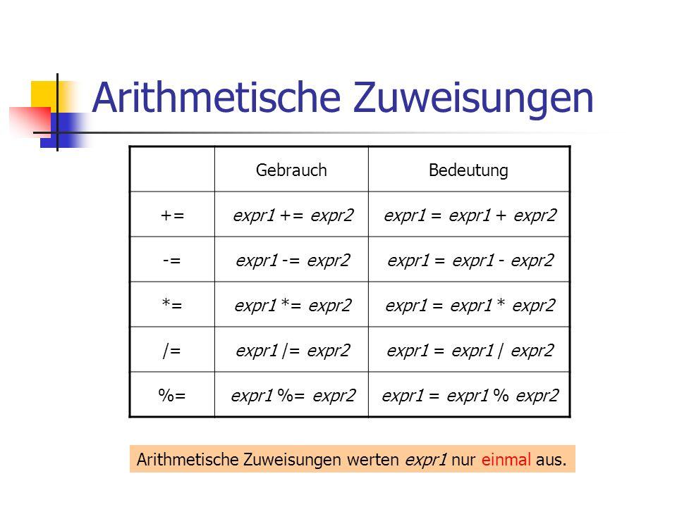 Arithmetische Zuweisungen GebrauchBedeutung +=expr1 += expr2expr1 = expr1 + expr2 -=expr1 -= expr2expr1 = expr1 - expr2 *=expr1 *= expr2expr1 = expr1 * expr2 /=expr1 /= expr2expr1 = expr1 / expr2 %=expr1 %= expr2expr1 = expr1 % expr2 Arithmetische Zuweisungen werten expr1 nur einmal aus.