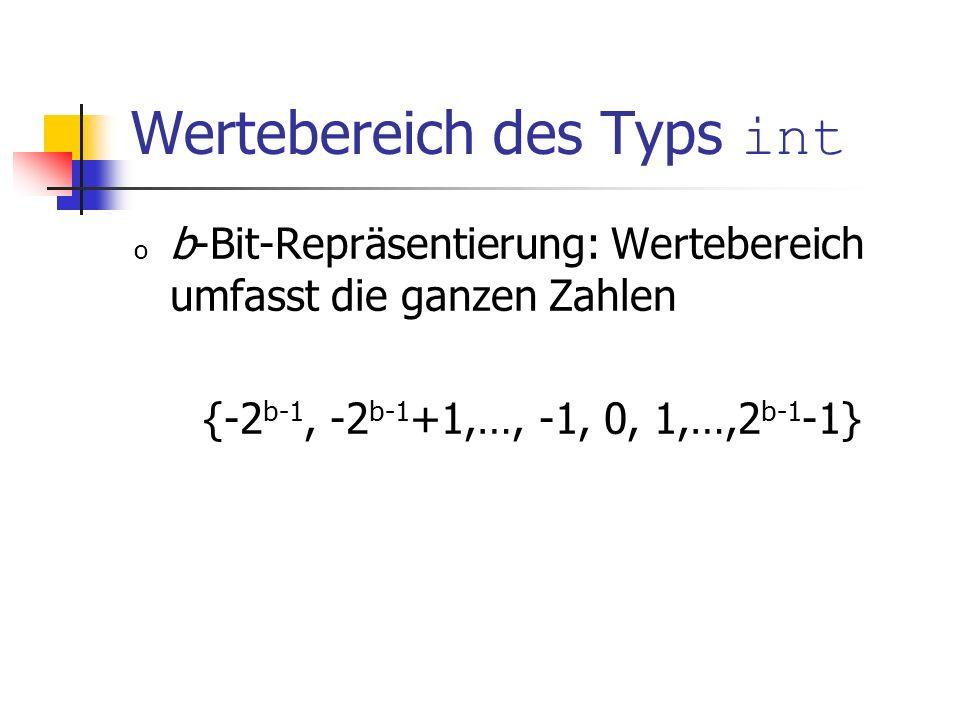 Wertebereich des Typs int o b-Bit-Repräsentierung: Wertebereich umfasst die ganzen Zahlen {-2 b-1, -2 b-1 +1,…, -1, 0, 1,…,2 b-1 -1}