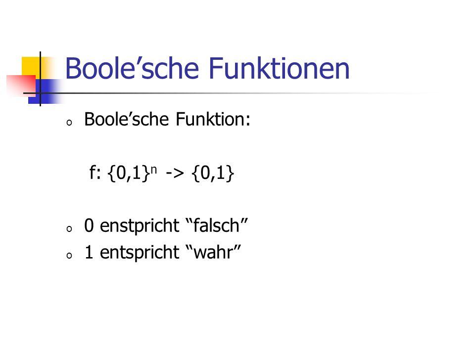 Boolesche Funktionen o Boolesche Funktion: f: {0,1} n -> {0,1} o 0 enstpricht falsch o 1 entspricht wahr