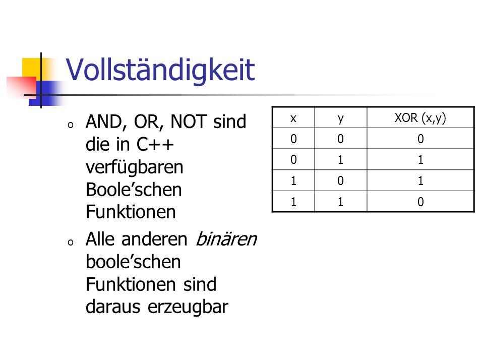 Vollständigkeit o AND, OR, NOT sind die in C++ verfügbaren Booleschen Funktionen o Alle anderen binären booleschen Funktionen sind daraus erzeugbar xyXOR (x,y) 000 011 101 110
