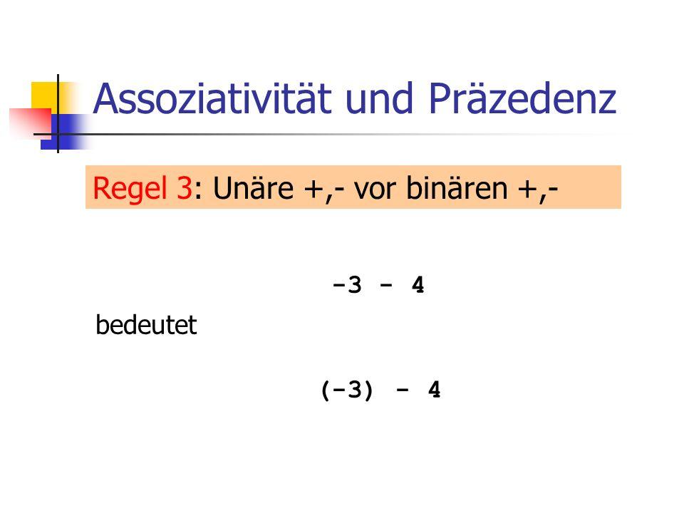 In-/Dekrement-Operatoren GebrauchStelligkeitPräz.Assoz.L/R-Werte Post-Inkrementexpr++117linksL-Wert -> R-Wert Prä-Inkrement++expr116rechtsL-Wert -> L-Wert Post-Dekrementexpr--117linksL-Wert -> R-Wert Prä-Dekrement--expr116rechtsL-Wert-> L-Wert