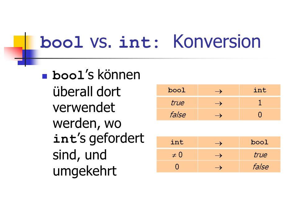 bool vs. int: Konversion bool s können überall dort verwendet werden, wo int s gefordert sind, und umgekehrt bool int true 1 false 0 int bool 0 true 0