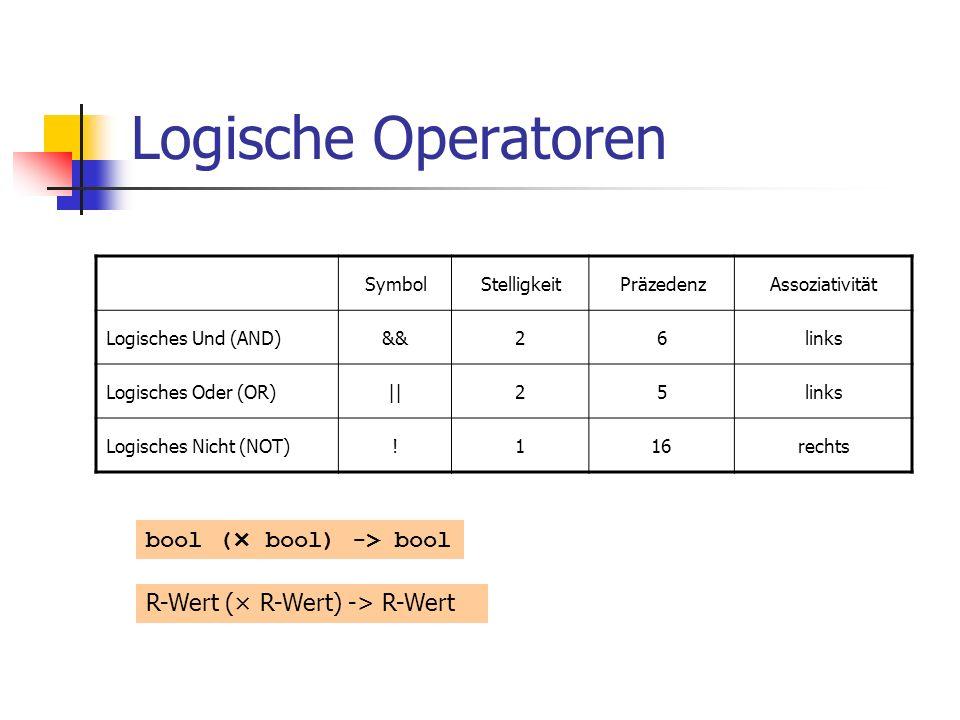 Logische Operatoren SymbolStelligkeitPräzedenzAssoziativität Logisches Und (AND)&&26links Logisches Oder (OR)||25links Logisches Nicht (NOT)!116rechts bool (× bool) -> bool R-Wert (× R-Wert) -> R-Wert