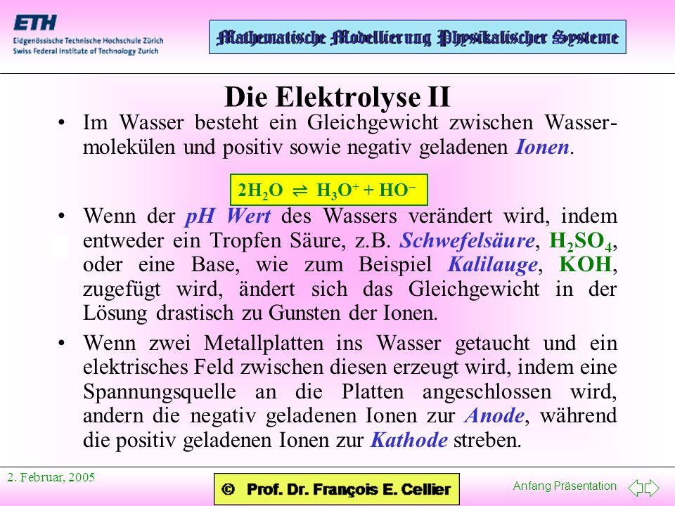 Anfang Präsentation 2. Februar, 2005 Die Elektrolyse II Im Wasser besteht ein Gleichgewicht zwischen Wasser- molekülen und positiv sowie negativ gelad