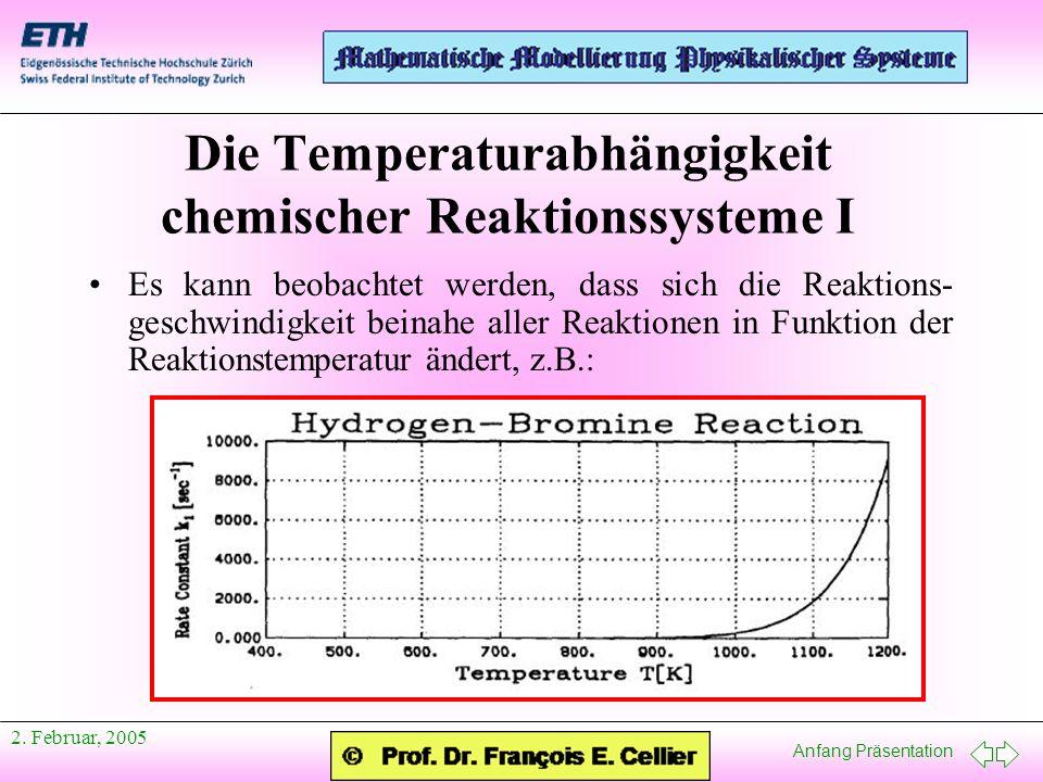 Anfang Präsentation 2. Februar, 2005 Es kann beobachtet werden, dass sich die Reaktions- geschwindigkeit beinahe aller Reaktionen in Funktion der Reak