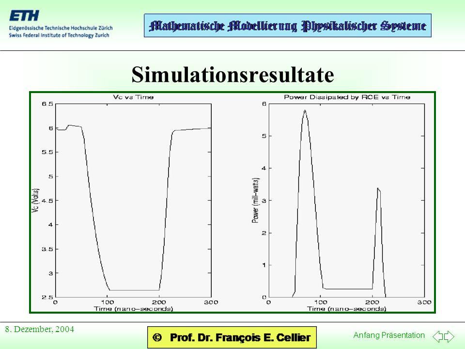 Anfang Präsentation 8. Dezember, 2004 Simulationsresultate