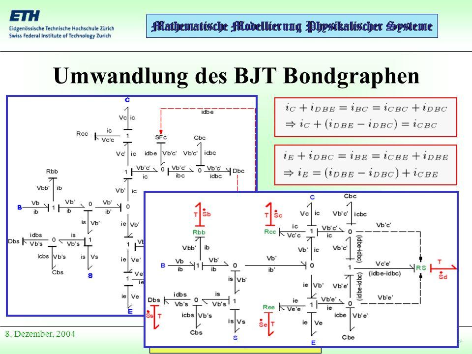 Anfang Präsentation 8. Dezember, 2004 Umwandlung des BJT Bondgraphen