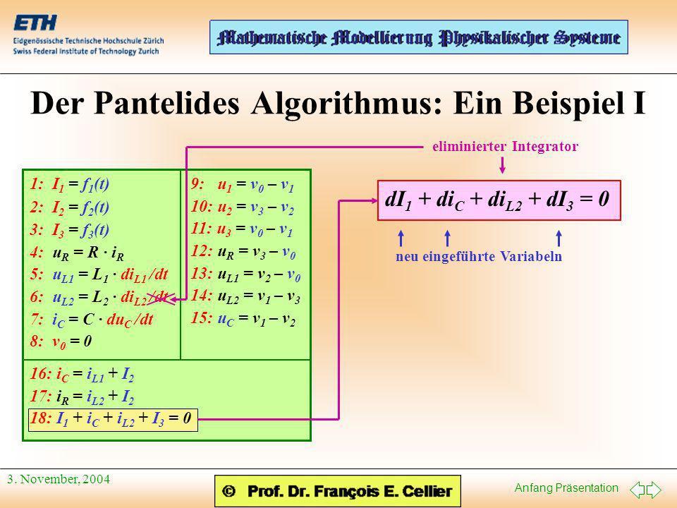 Anfang Präsentation 3. November, 2004 Der Pantelides Algorithmus: Ein Beispiel I 1: I 1 = f 1 (t) 2: I 2 = f 2 (t) 3: I 3 = f 3 (t) 4: u R = R · i R 5