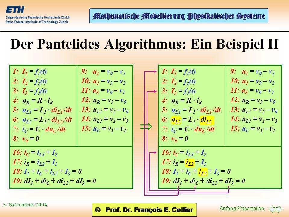 Anfang Präsentation 3. November, 2004 Der Pantelides Algorithmus: Ein Beispiel II 1: I 1 = f 1 (t) 2: I 2 = f 2 (t) 3: I 3 = f 3 (t) 4: u R = R · i R