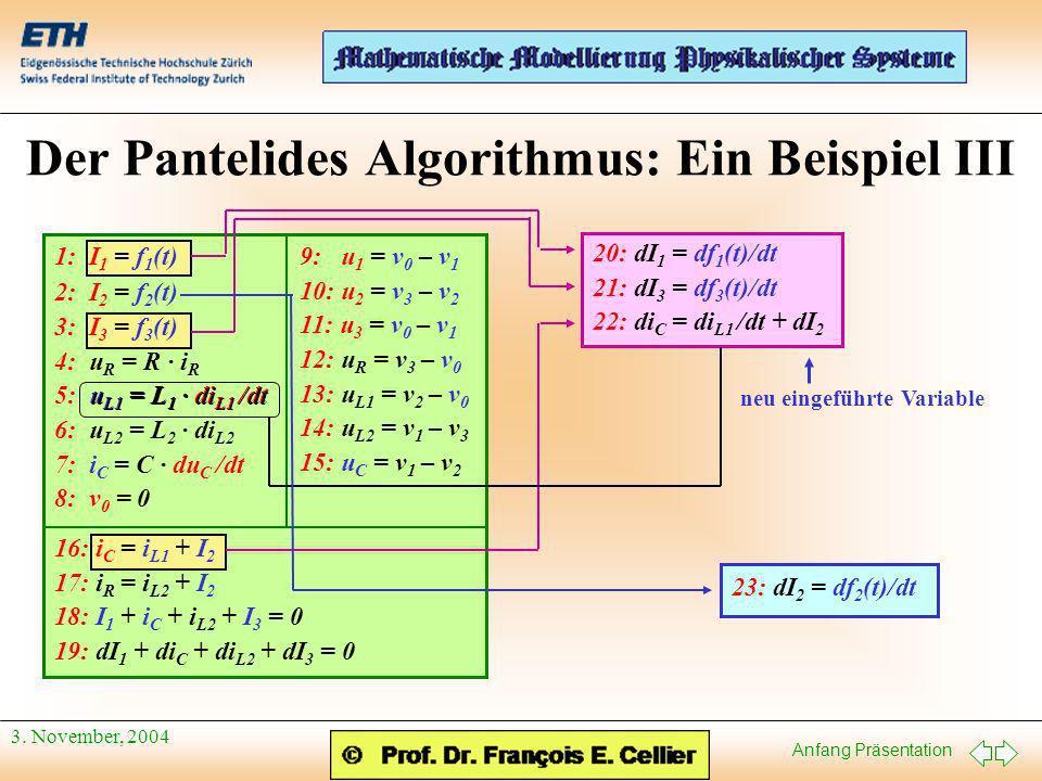 Anfang Präsentation 3. November, 2004 Der Pantelides Algorithmus: Ein Beispiel III 9: u 1 = v 0 – v 1 10: u 2 = v 3 – v 2 11: u 3 = v 0 – v 1 12: u R