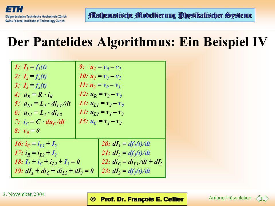 Anfang Präsentation 3. November, 2004 Der Pantelides Algorithmus: Ein Beispiel IV 9: u 1 = v 0 – v 1 10: u 2 = v 3 – v 2 11: u 3 = v 0 – v 1 12: u R =