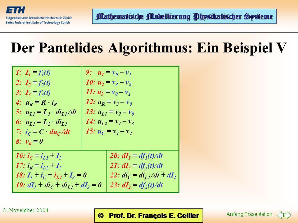 Anfang Präsentation 3. November, 2004 Der Pantelides Algorithmus: Ein Beispiel V 9: u 1 = v 0 – v 1 10: u 2 = v 3 – v 2 11: u 3 = v 0 – v 1 12: u R =