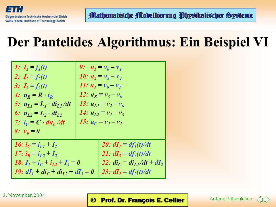 Anfang Präsentation 3. November, 2004 Der Pantelides Algorithmus: Ein Beispiel VI 9: u 1 = v 0 – v 1 10: u 2 = v 3 – v 2 11: u 3 = v 0 – v 1 12: u R =