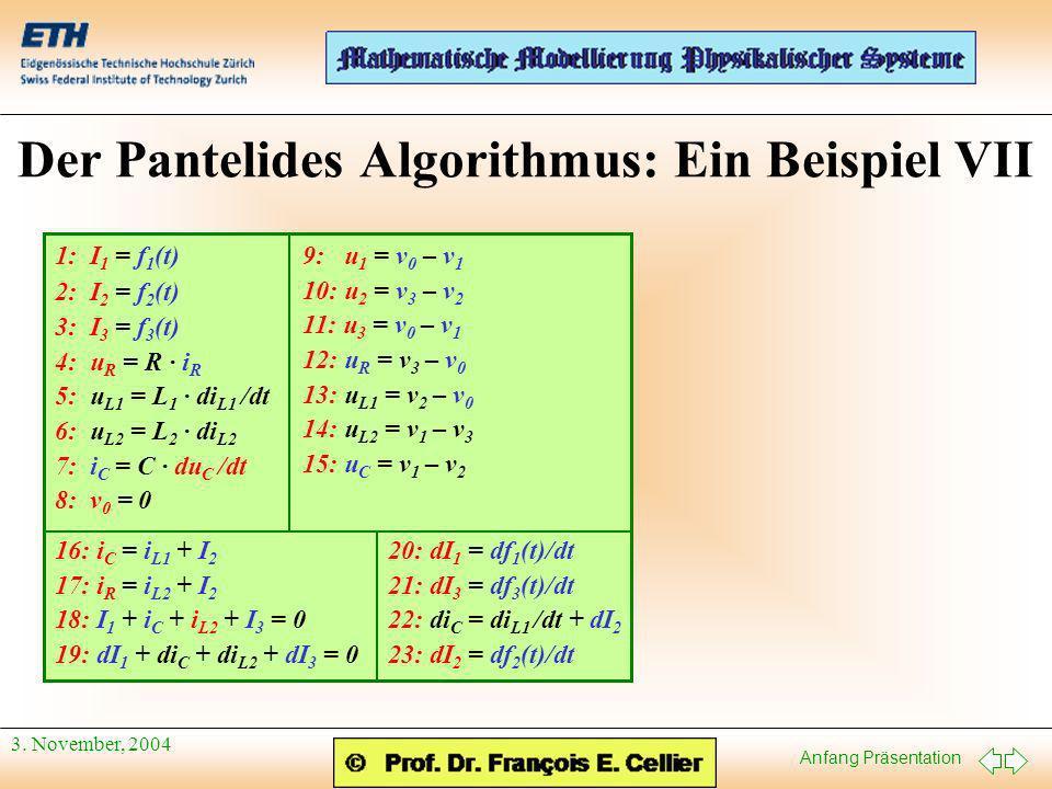 Anfang Präsentation 3. November, 2004 Der Pantelides Algorithmus: Ein Beispiel VII 9: u 1 = v 0 – v 1 10: u 2 = v 3 – v 2 11: u 3 = v 0 – v 1 12: u R