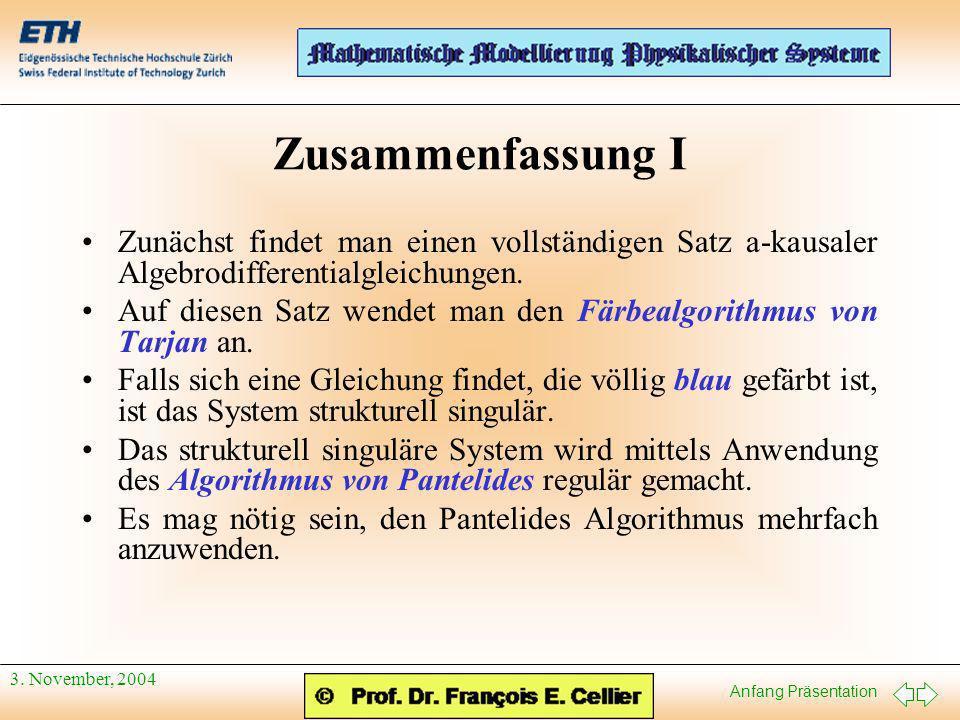 Anfang Präsentation 3. November, 2004 Zusammenfassung I Zunächst findet man einen vollständigen Satz a-kausaler Algebrodifferentialgleichungen. Auf di