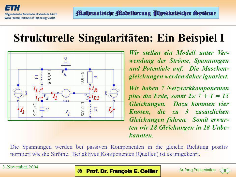 Anfang Präsentation 3. November, 2004 Strukturelle Singularitäten: Ein Beispiel I I 1 I 2 I 3 i C i L1 i L2 i R v 1 v 2 v 3 v 0 Wir stellen ein Modell