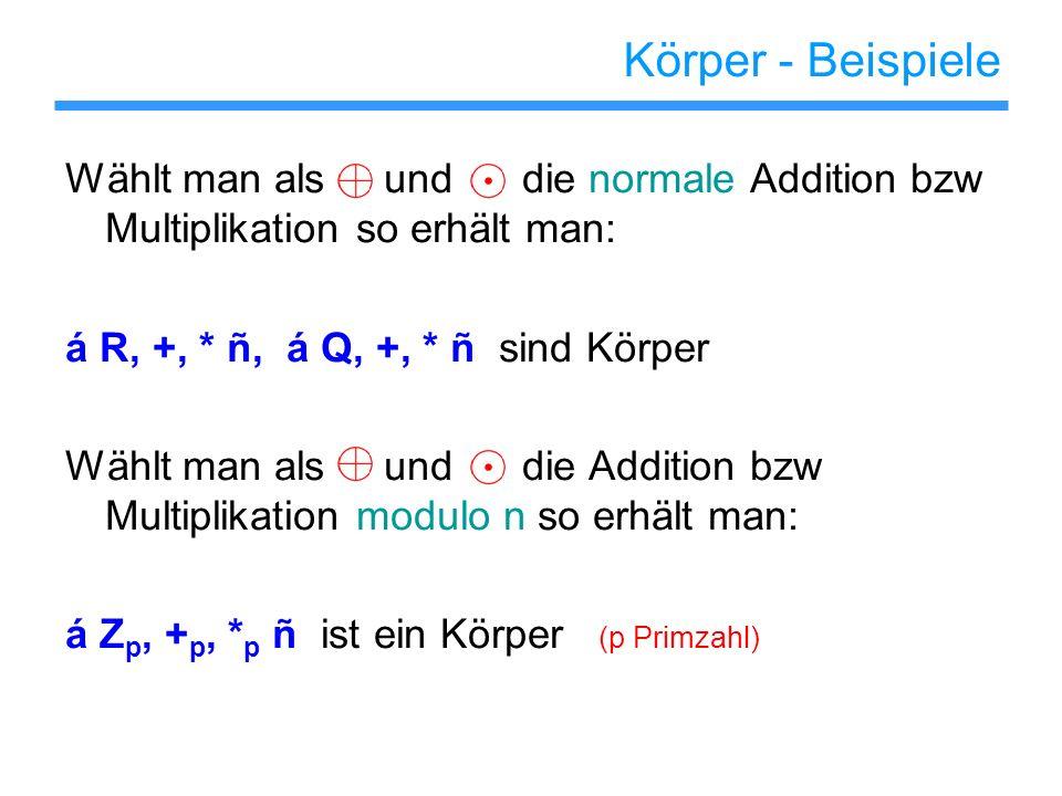Körper - Beispiele Wählt man als und die normale Addition bzw Multiplikation so erhält man: á R, +, * ñ, á Q, +, * ñ sind Körper Wählt man als und die