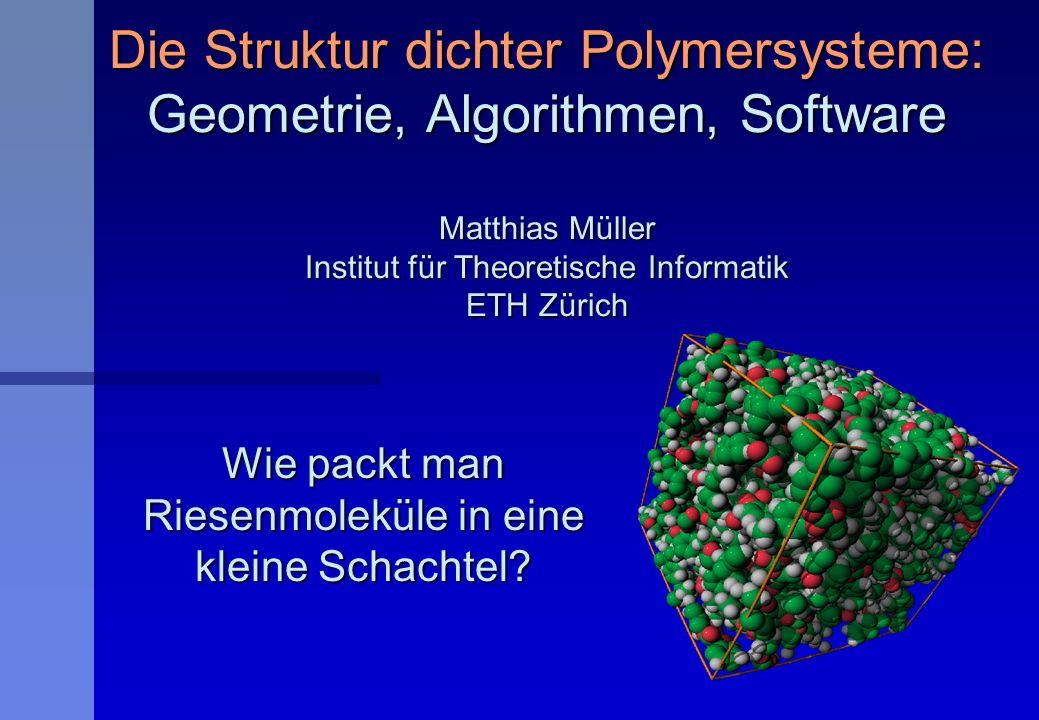 Die Struktur dichter Polymersysteme: Geometrie, Algorithmen, Software Matthias Müller Institut für Theoretische Informatik ETH Zürich Wie packt man Ri
