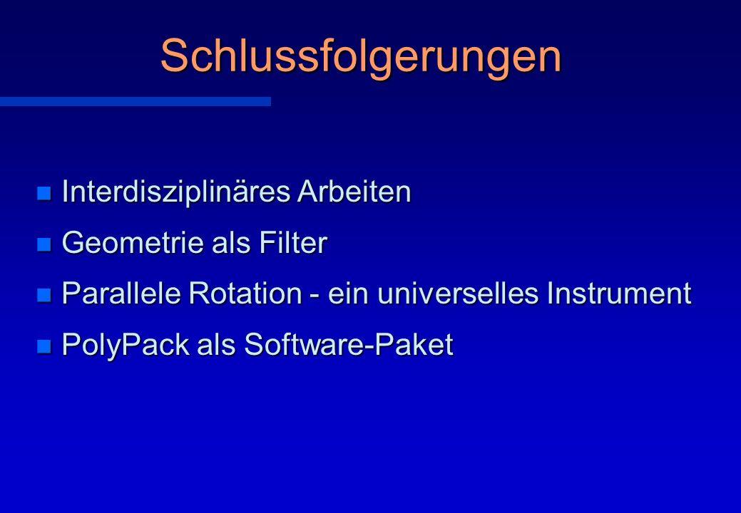 Schlussfolgerungen n Interdisziplinäres Arbeiten n Geometrie als Filter n Parallele Rotation - ein universelles Instrument n PolyPack als Software-Pak