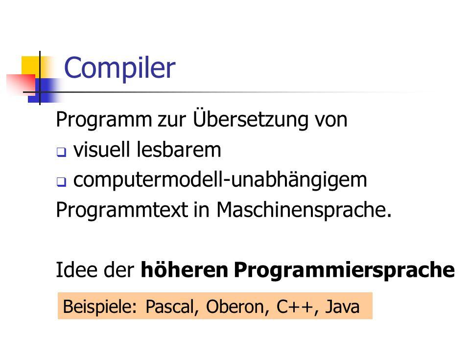 Compiler Programm zur Übersetzung von visuell lesbarem computermodell-unabhängigem Programmtext in Maschinensprache. Idee der höheren Programmiersprac