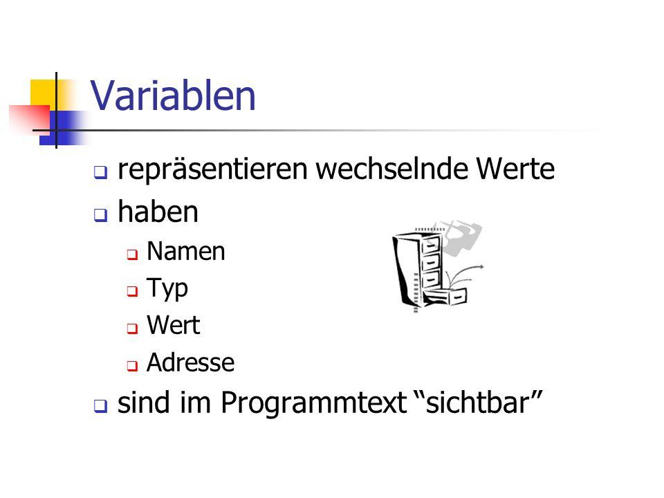 Variablen repräsentieren wechselnde Werte haben Namen Typ Wert Adresse sind im Programmtext sichtbar