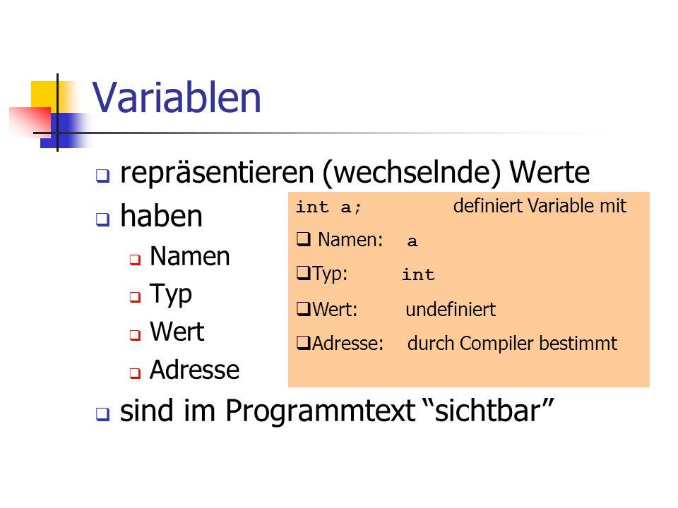 Variablen repräsentieren (wechselnde) Werte haben Namen Typ Wert Adresse sind im Programmtext sichtbar int a; definiert Variable mit Namen: a Typ: int