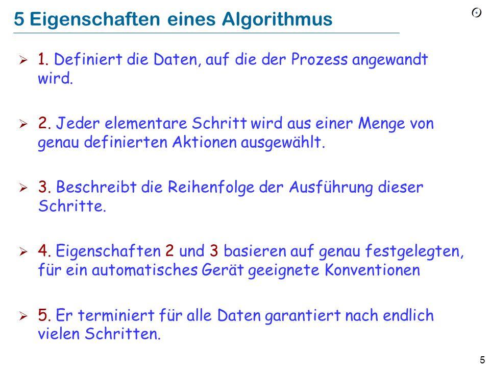 5 5 Eigenschaften eines Algorithmus 1.Definiert die Daten, auf die der Prozess angewandt wird.