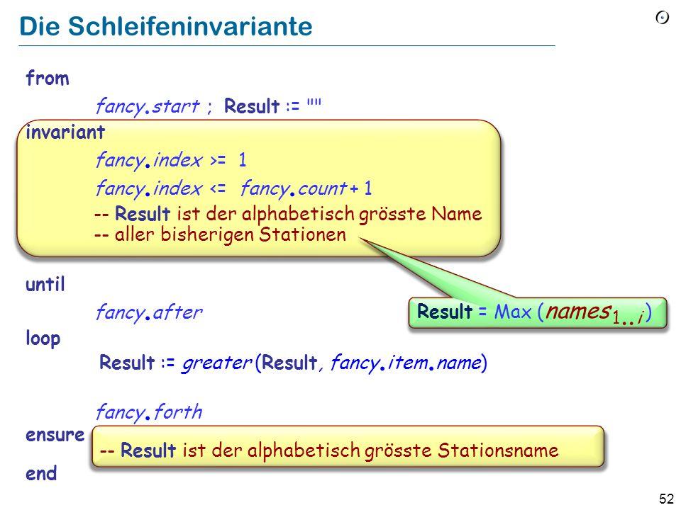 51 Die Schleifeninvariante (Nicht zu verwechseln mit der Klasseninvariante) Eine Eigenschaft, die: Nach jeder Initialisierung (from-Klausel) erfüllt i