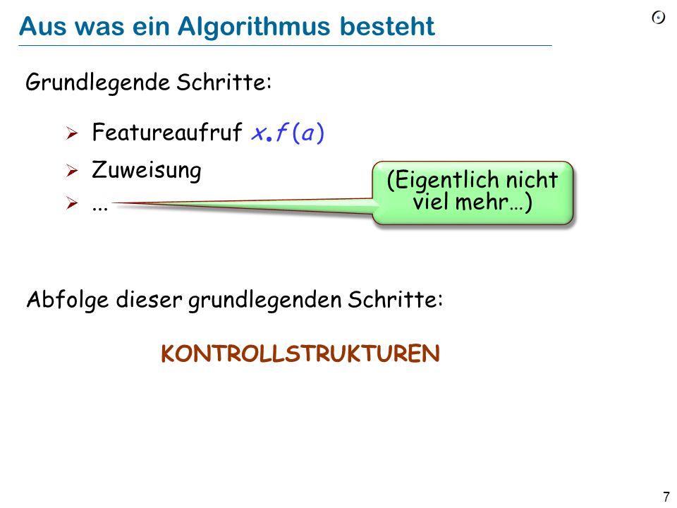 6 Algorithmus vs Programm Algorithmus bezeichnet allgemein einen abstrakteren Begriff, unabhängig von der Plattform, der Programmiersprache, etc.