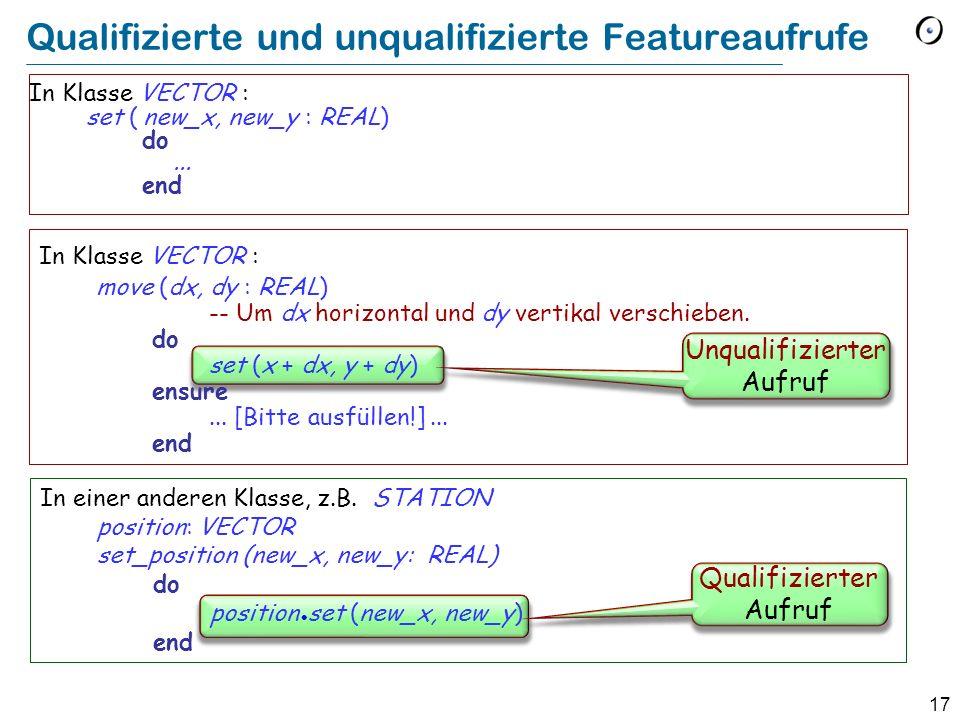 17 In Klasse VECTOR : move (dx, dy : REAL) -- Um dx horizontal und dy vertikal verschieben.