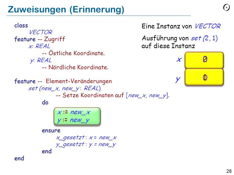 26 x := new_x y := new_y Zuweisungen (Erinnerung) x y 2 0 0 1 Eine Instanz von VECTOR Ausführung von set (2, 1) auf diese Instanz class VECTOR feature -- Zugriff x: REAL -- Östliche Koordinate.