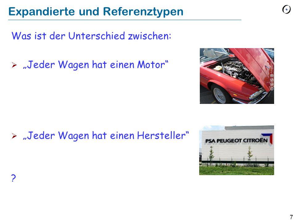 7 Expandierte und Referenztypen Was ist der Unterschied zwischen: Jeder Wagen hat einen Motor Jeder Wagen hat einen Hersteller