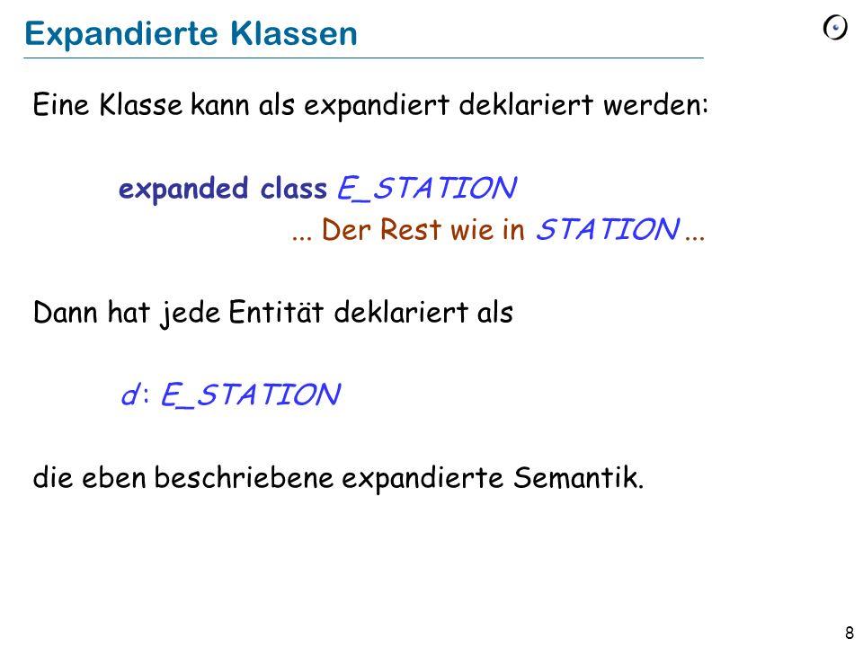 8 Expandierte Klassen Eine Klasse kann als expandiert deklariert werden: expanded class E_STATION...