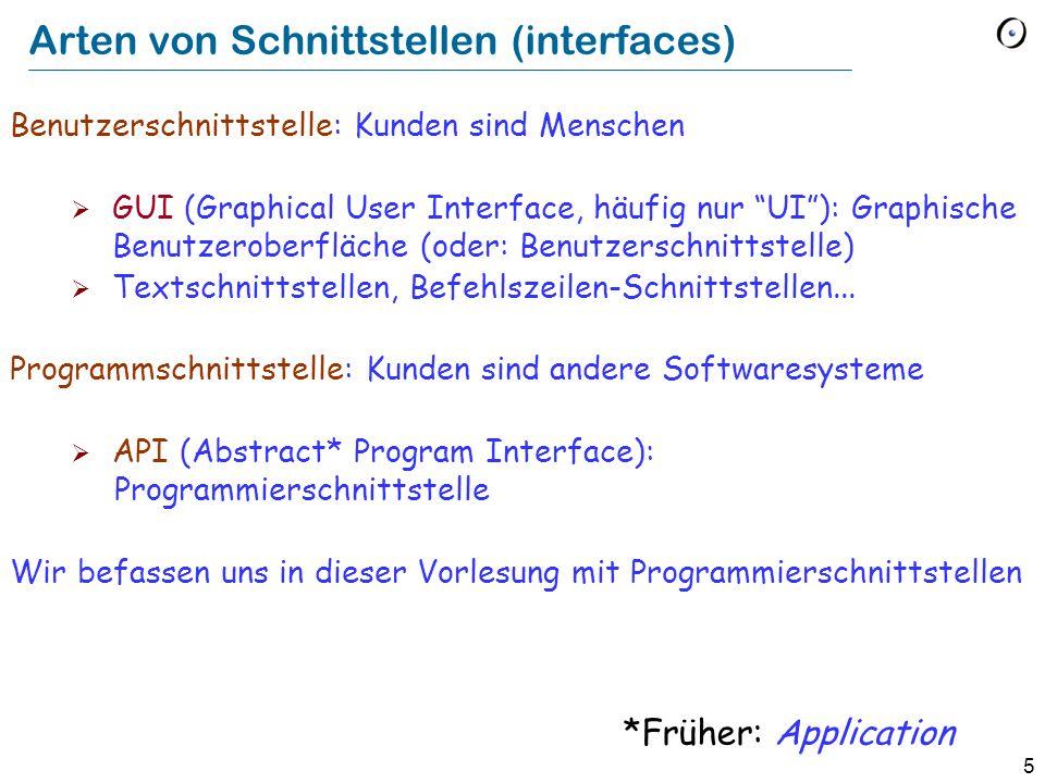 5 Arten von Schnittstellen (interfaces) Benutzerschnittstelle: Kunden sind Menschen GUI (Graphical User Interface, häufig nur UI): Graphische Benutzer