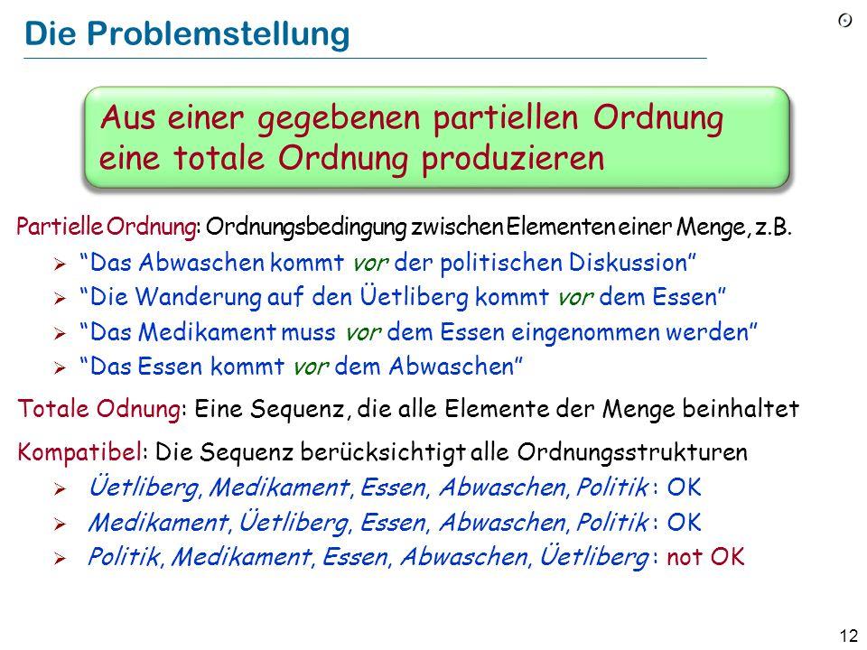 12 Die Problemstellung Partielle Ordnung: Ordnungsbedingung zwischen Elementen einer Menge, z.B. Das Abwaschen kommt vor der politischen Diskussion Di