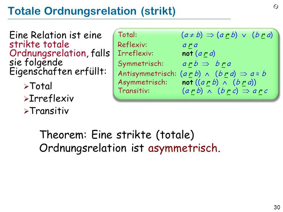30 Totale Ordnungsrelation (strikt) Eine Relation ist eine strikte totale Ordnungsrelation, falls sie folgende Eigenschaften erfüllt: Total Irreflexiv