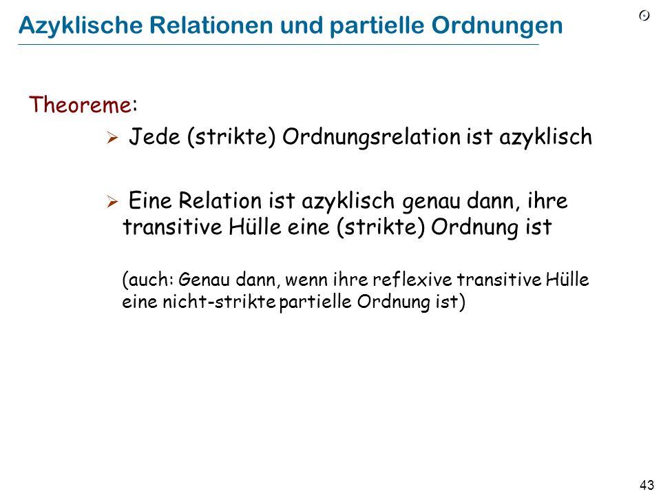 43 Azyklische Relationen und partielle Ordnungen Theoreme: Jede (strikte) Ordnungsrelation ist azyklisch Eine Relation ist azyklisch genau dann, ihre