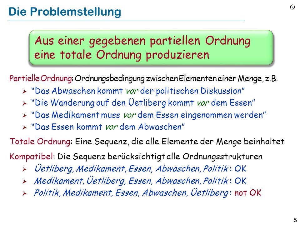 5 Die Problemstellung Partielle Ordnung: Ordnungsbedingung zwischen Elementen einer Menge, z.B. Das Abwaschen kommt vor der politischen Diskussion Die
