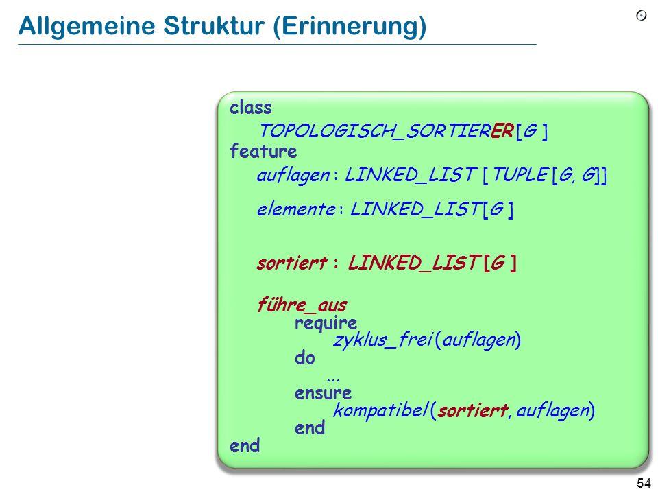 54 Allgemeine Struktur (Erinnerung) class TOPOLOGISCH_SORTIERER [G ] feature auflagen : LINKED_LIST [TUPLE [G, G]] elemente : LINKED_LIST [G ] sortier