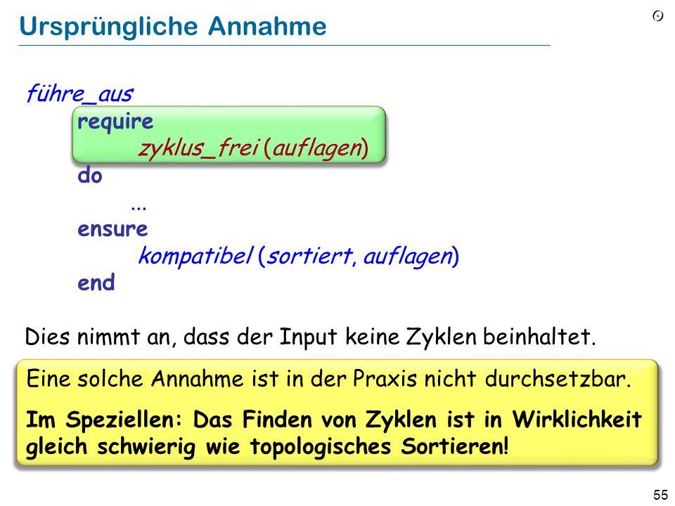 55 Ursprüngliche Annahme führe_aus require zyklus_frei (auflagen) do... ensure kompatibel (sortiert, auflagen) end Dies nimmt an, dass der Input keine