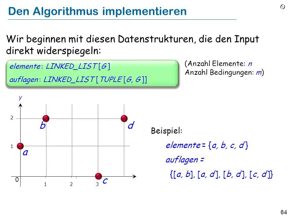 64 Den Algorithmus implementieren (Anzahl Elemente: n Anzahl Bedingungen: m) auflagen : LINKED_LIST [TUPLE [G, G ]] elemente : LINKED_LIST [G ] Wir be